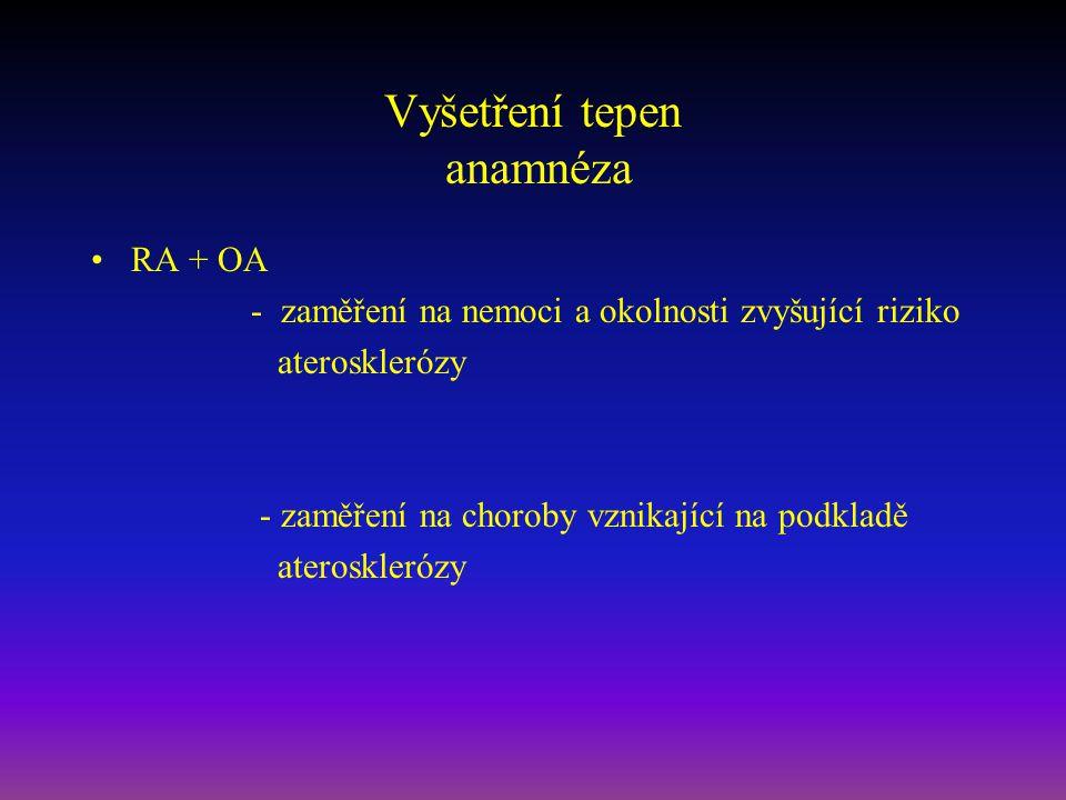 Vyšetření tepen anamnéza RA + OA - zaměření na nemoci a okolnosti zvyšující riziko aterosklerózy - zaměření na choroby vznikající na podkladě ateroskl