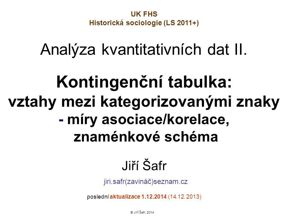 Kontingenční tabulka: vztahy mezi kategorizovanými znaky - míry asociace/korelace, znaménkové schéma Jiří Šafr jiri.safr(zavináč)seznam.cz poslední ak
