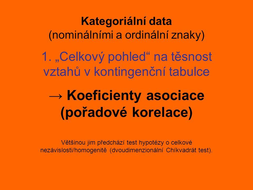 Kategoriální data (nominálními a ordinální znaky) → Koeficienty asociace (pořadové korelace) Většinou jim předchází test hypotézy o celkové nezávislos