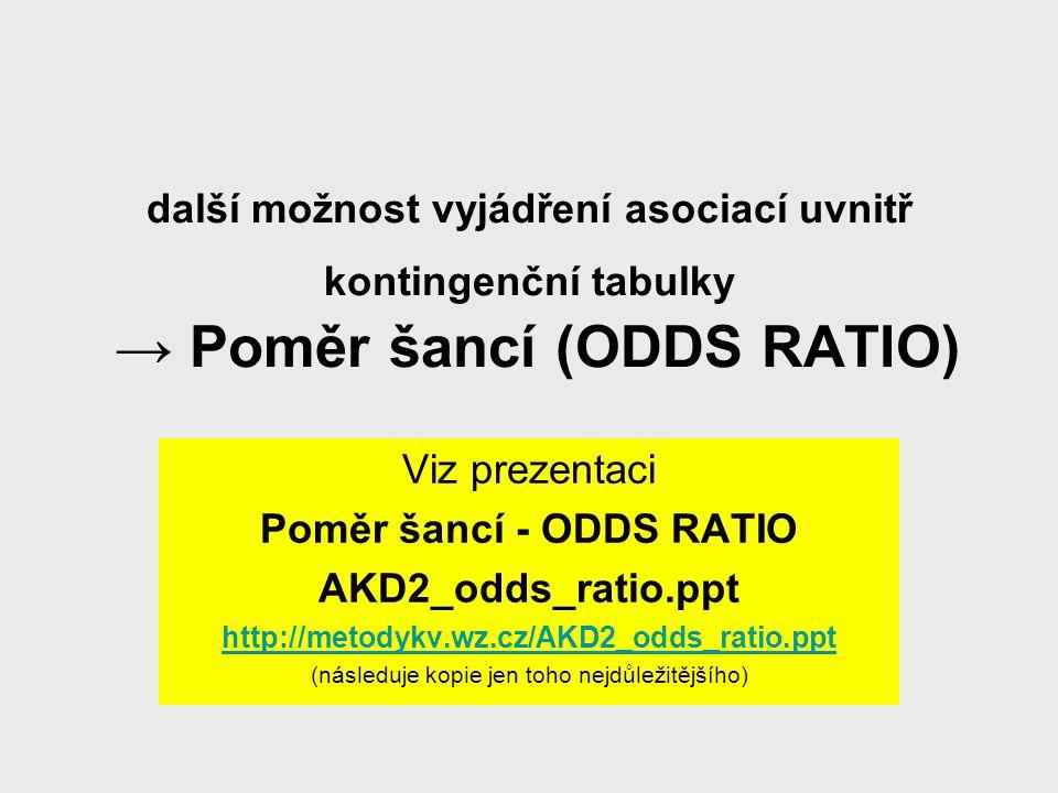 další možnost vyjádření asociací uvnitř kontingenční tabulky → Poměr šancí (ODDS RATIO) Viz prezentaci Poměr šancí - ODDS RATIO AKD2_odds_ratio.ppt ht
