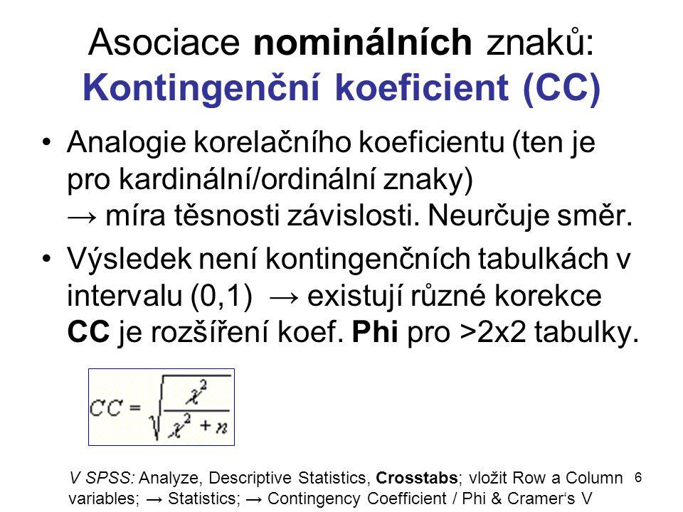 6 Asociace nominálních znaků: Kontingenční koeficient (CC) Analogie korelačního koeficientu (ten je pro kardinální/ordinální znaky) → míra těsnosti zá