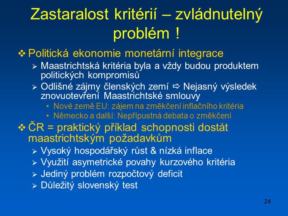 24 Zastaralost kritérií – zvládnutelný problém !  Politická ekonomie monetární integrace  Maastrichtská kritéria byla a vždy budou produktem politic