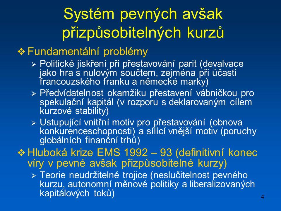 4 Systém pevných avšak přizpůsobitelných kurzů  Fundamentální problémy  Politické jiskření při přestavování parit (devalvace jako hra s nulovým souč
