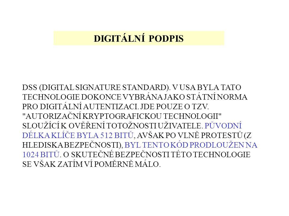 DIGITÁLNÍ PODPIS DSS (DIGITAL SIGNATURE STANDARD).