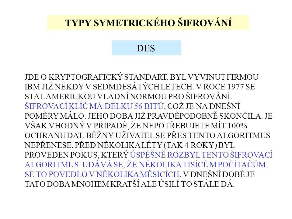 TYPY SYMETRICKÉHO ŠIFROVÁNÍ JDE O KRYPTOGRAFICKÝ STANDART.