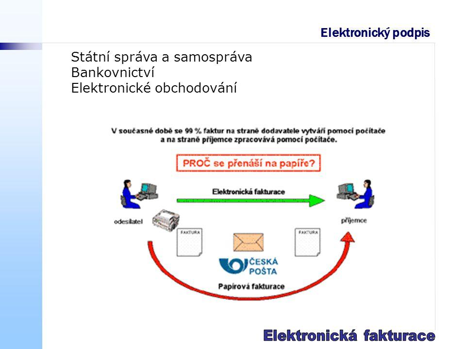 Státní správa a samospráva Bankovnictví Elektronické obchodování