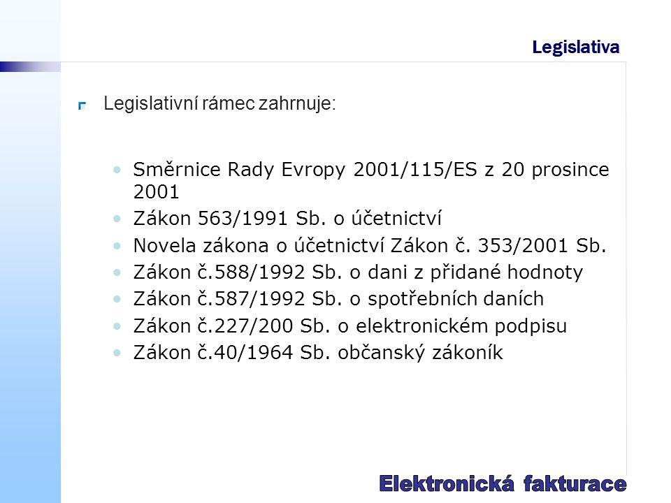 Legislativa Legislativní rámec zahrnuje: Směrnice Rady Evropy 2001/115/ES z 20 prosince 2001 Zákon 563/1991 Sb.