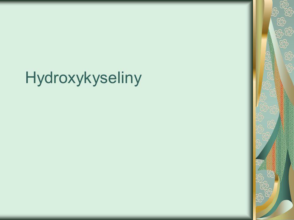 Obecný popis -jedná se o substituční deriváty karboxylových kyselin jejíchž molekuly obsahují jednu nebo více hydroxylových skupin -OH.