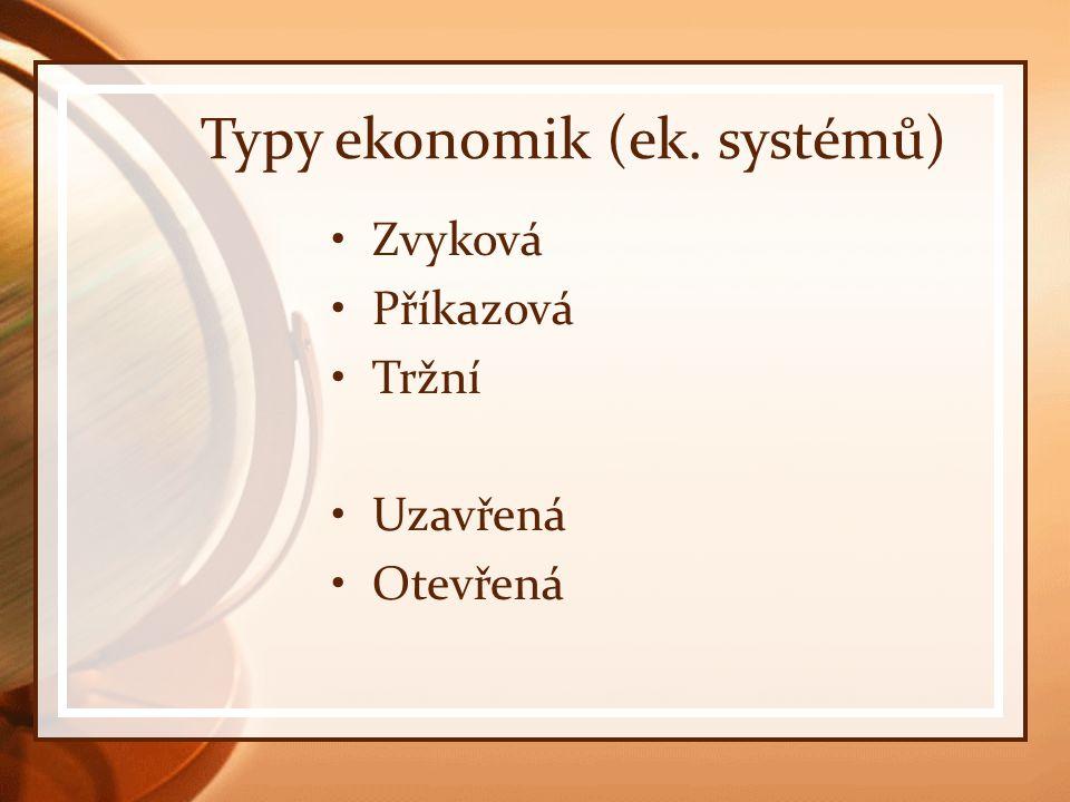 Typy ekonomik (ek. systémů) Zvyková Příkazová Tržní Uzavřená Otevřená