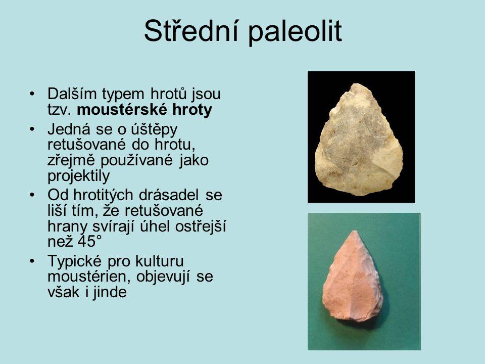 Střední paleolit Dalším typem hrotů jsou tzv. moustérské hroty Jedná se o úštěpy retušované do hrotu, zřejmě používané jako projektily Od hrotitých dr