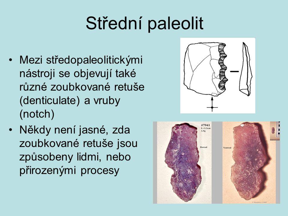 Střední paleolit Mezi středopaleolitickými nástroji se objevují také různé zoubkované retuše (denticulate) a vruby (notch) Někdy není jasné, zda zoubk