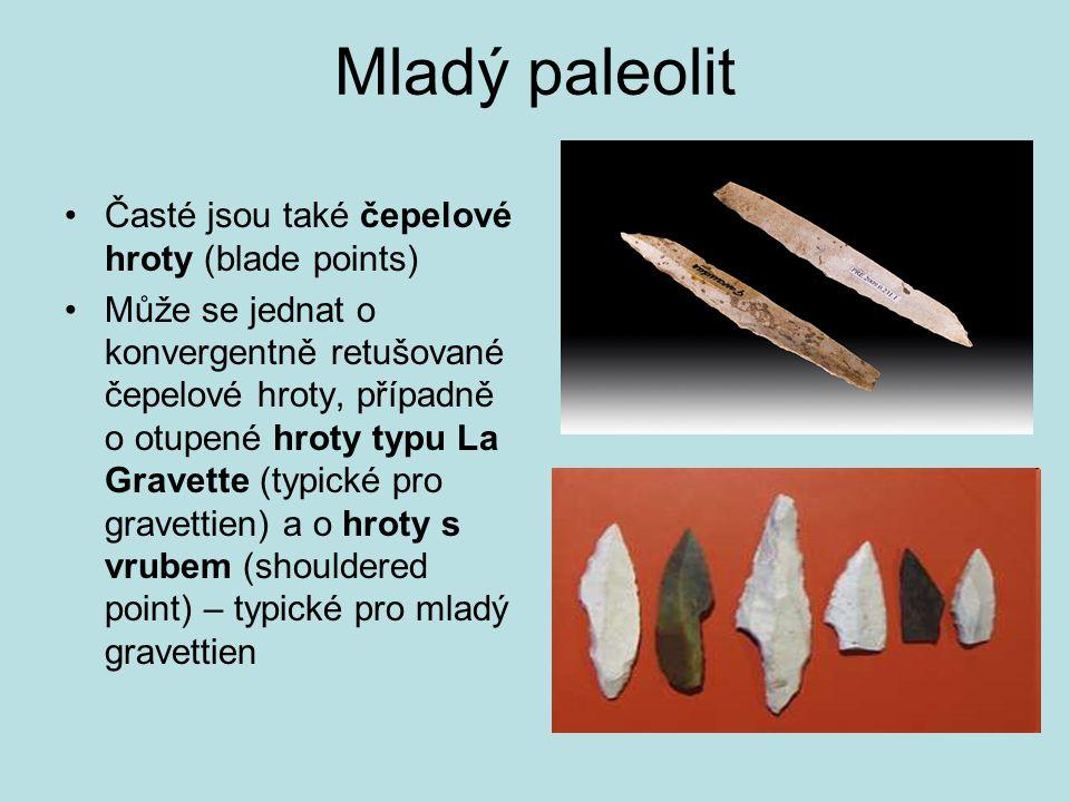 Mladý paleolit Časté jsou také čepelové hroty (blade points) Může se jednat o konvergentně retušované čepelové hroty, případně o otupené hroty typu La