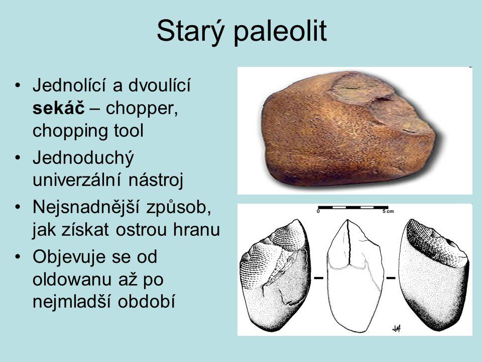 Starý paleolit Pěstní klín (hand axe) Typický pro kulturu acheuléenu, ale může se objevit i jinde Pěstní klíny se objevují západně od tzv.