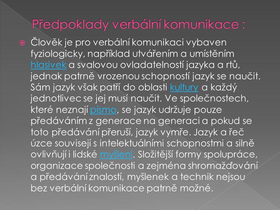  Člověk je pro verbální komunikaci vybaven fyziologicky, například utvářením a umístěním hlasivek a svalovou ovladatelností jazyka a rtů, jednak patrně vrozenou schopností jazyk se naučit.