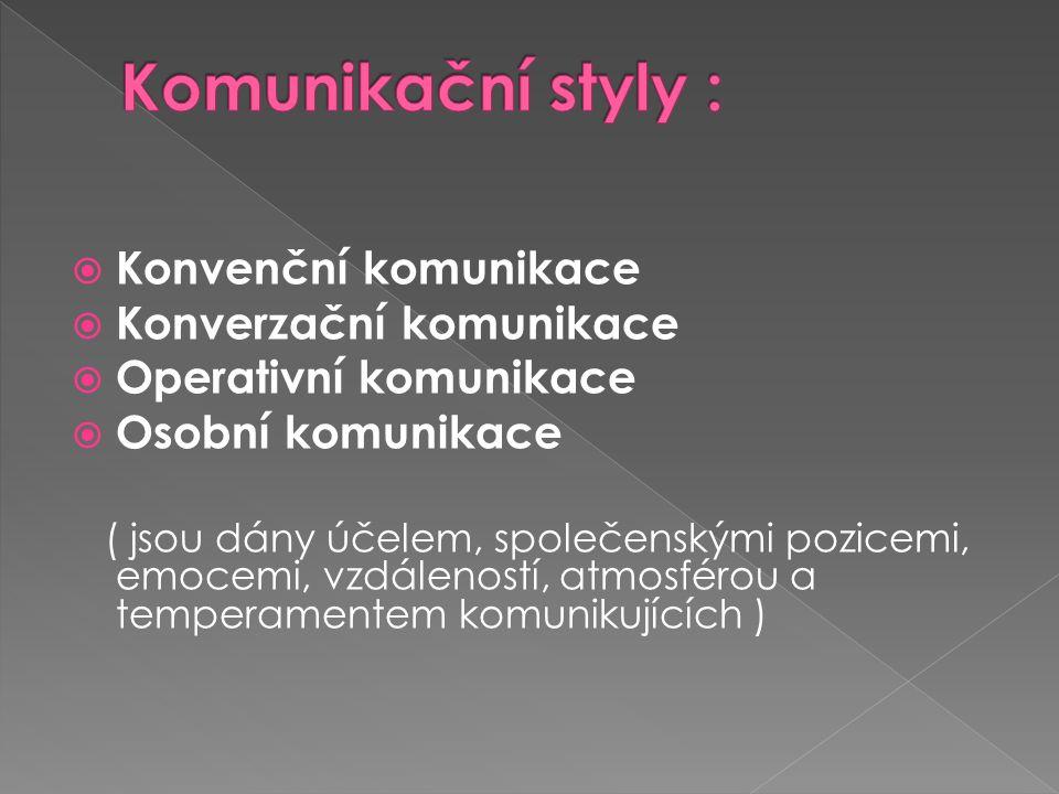  Konvenční komunikace  Konverzační komunikace  Operativní komunikace  Osobní komunikace ( jsou dány účelem, společenskými pozicemi, emocemi, vzdáleností, atmosférou a temperamentem komunikujících )