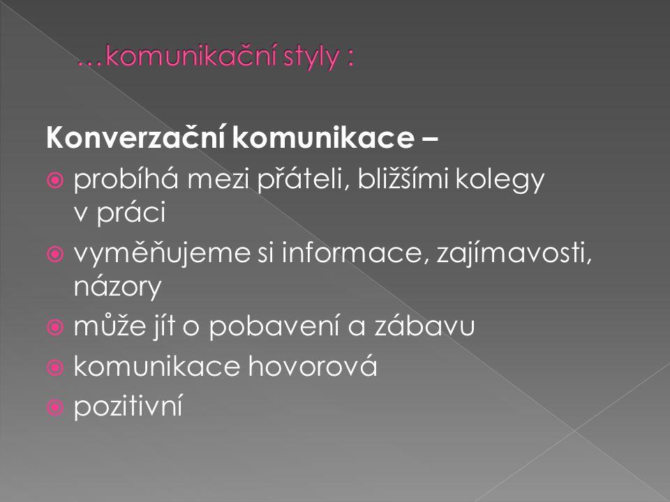 Konverzační komunikace –  probíhá mezi přáteli, bližšími kolegy v práci  vyměňujeme si informace, zajímavosti, názory  může jít o pobavení a zábavu