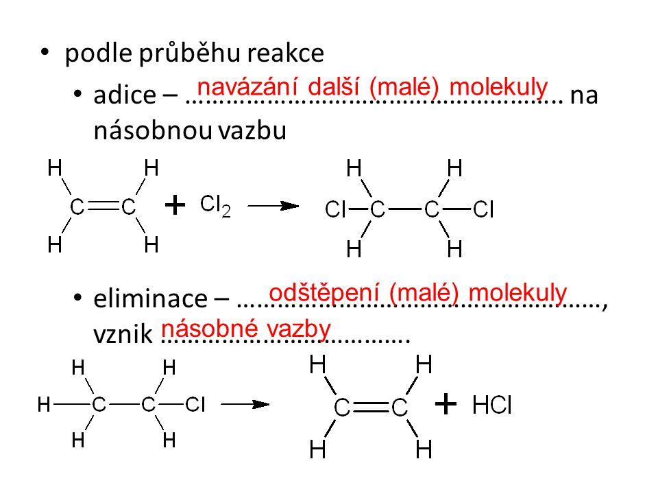 podle průběhu reakce adice – ……………………………………………….. na násobnou vazbu eliminace – ………………………………………………, vznik ………………………………. navázání další (malé) molekuly