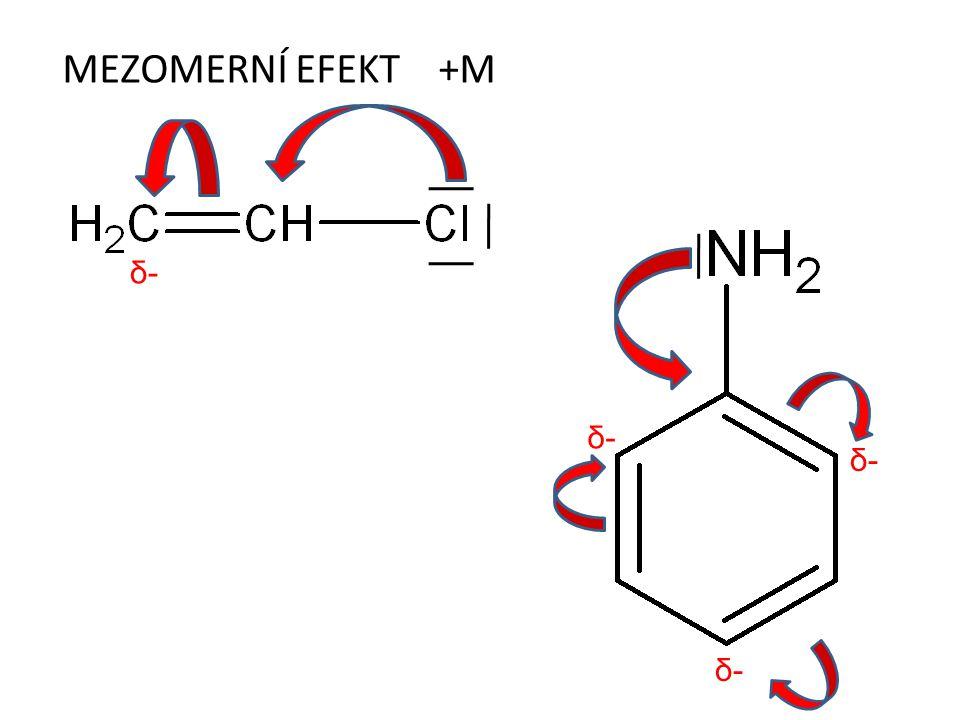MEZOMERNÍ EFEKT +M δ-δ- δ-δ- δ-δ- δ-δ-