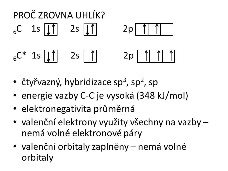 PROČ ZROVNA UHLÍK? 6 C 1s 2s 2p 6 C* 1s 2s 2p čtyřvazný, hybridizace sp 3, sp 2, sp energie vazby C-C je vysoká (348 kJ/mol) elektronegativita průměrn