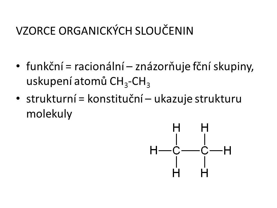 VZORCE ORGANICKÝCH SLOUČENIN funkční = racionální – znázorňuje fční skupiny, uskupení atomů CH 3 -CH 3 strukturní = konstituční – ukazuje strukturu mo