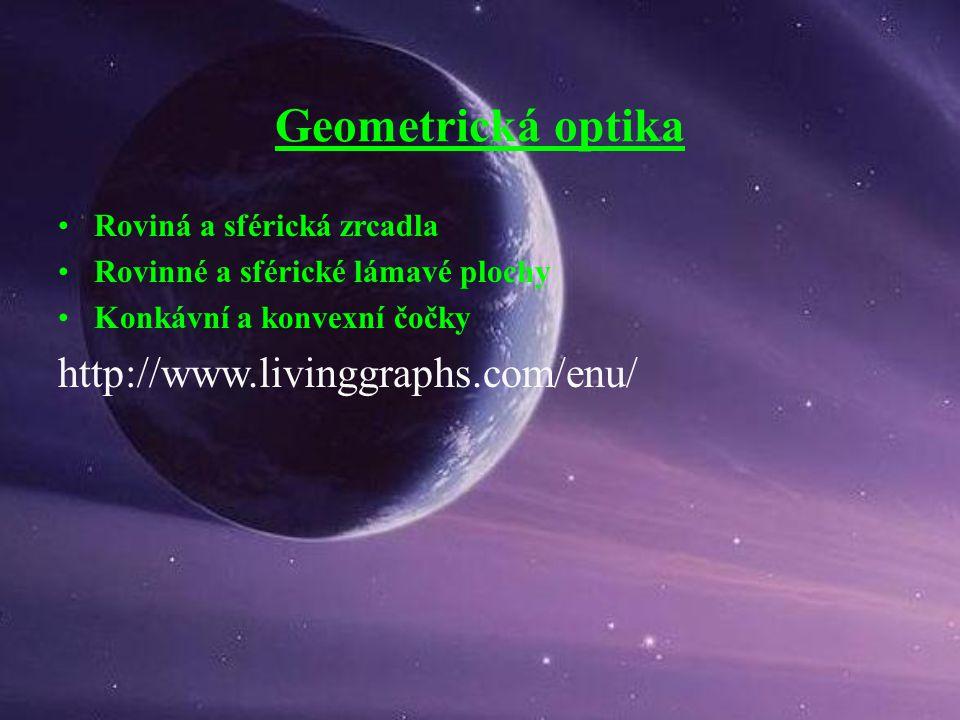 Geometrická optika Roviná a sférická zrcadla Rovinné a sférické lámavé plochy Konkávní a konvexní čočky http://www.livinggraphs.com/enu/