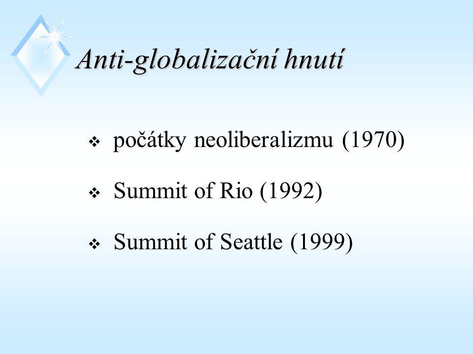 Anti-globalizační hnutí  počátky neoliberalizmu (1970)  Summit of Rio (1992)  Summit of Seattle (1999)