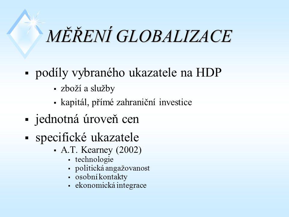MĚŘENÍ GLOBALIZACE  podíly vybraného ukazatele na HDP  zboží a služby  kapitál, přímé zahraniční investice  jednotná úroveň cen  specifické ukaza