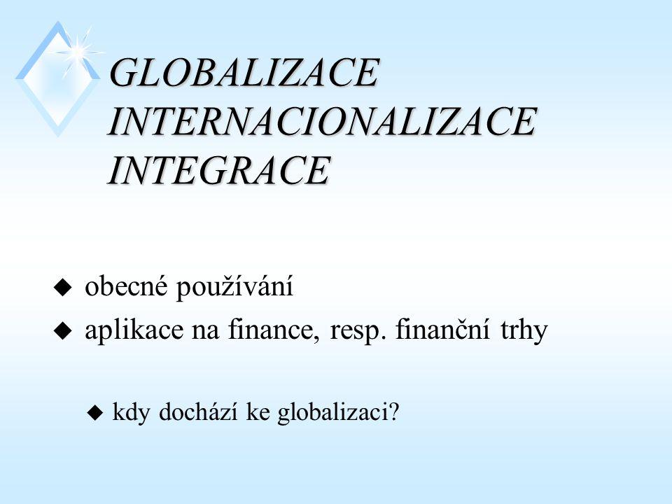 GLOBALIZACE INTERNACIONALIZACE INTEGRACE u obecné používání u aplikace na finance, resp. finanční trhy u kdy dochází ke globalizaci?