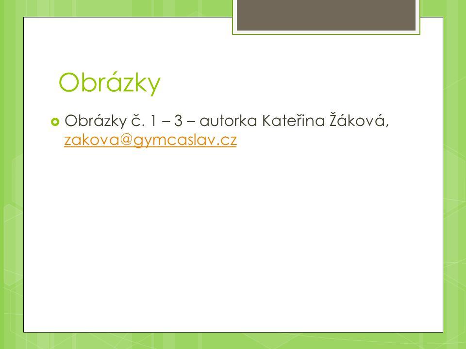 Obrázky  Obrázky č. 1 – 3 – autorka Kateřina Žáková, zakova@gymcaslav.cz zakova@gymcaslav.cz