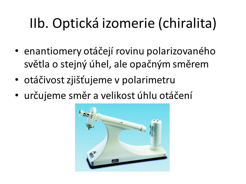 IIb. Optická izomerie (chiralita) enantiomery otáčejí rovinu polarizovaného světla o stejný úhel, ale opačným směrem otáčivost zjišťujeme v polarimetr