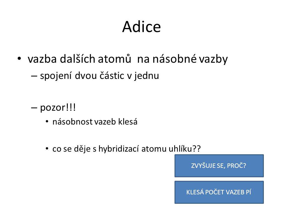 Adice vazba dalších atomů na násobné vazby – spojení dvou částic v jednu – pozor!!.