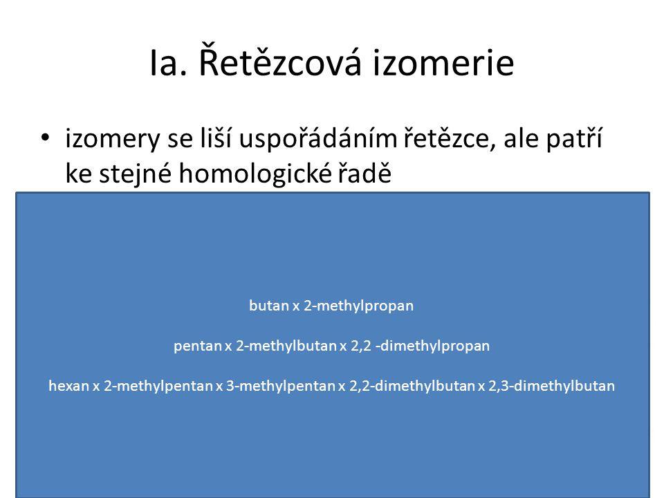 Ia. Řetězcová izomerie izomery se liší uspořádáním řetězce, ale patří ke stejné homologické řadě butan x 2-methylpropan pentan x 2-methylbutan x 2,2 -