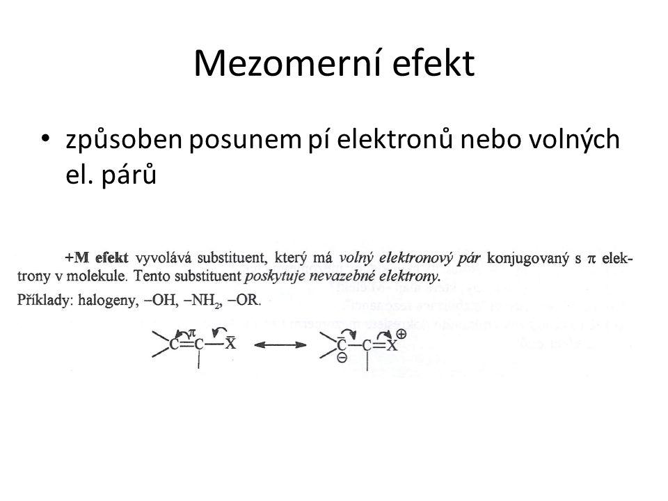 způsoben posunem pí elektronů nebo volných el. párů