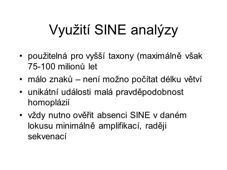 Využití SINE analýzy použitelná pro vyšší taxony (maximálně však 75-100 milionů let málo znaků – není možno počítat délku větví unikátní události malá