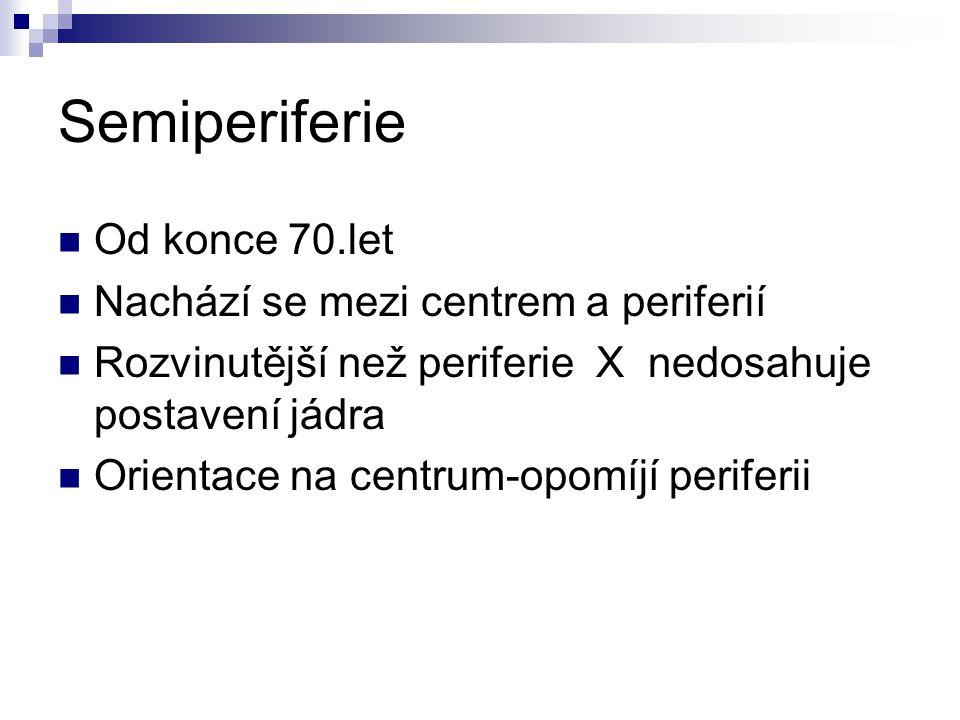 Semiperiferie Od konce 70.let Nachází se mezi centrem a periferií Rozvinutější než periferie X nedosahuje postavení jádra Orientace na centrum-opomíjí periferii