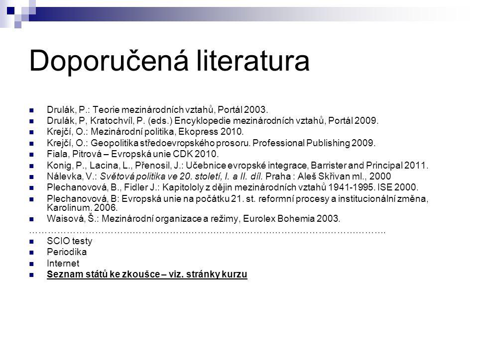 Doporučená literatura Drulák, P.: Teorie mezinárodních vztahů, Portál 2003.