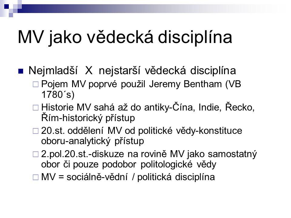 MV jako vědecká disciplína Nejmladší X nejstarší vědecká disciplína  Pojem MV poprvé použil Jeremy Bentham (VB 1780´s)  Historie MV sahá až do antiky-Čína, Indie, Řecko, Řím-historický přístup  20.st.