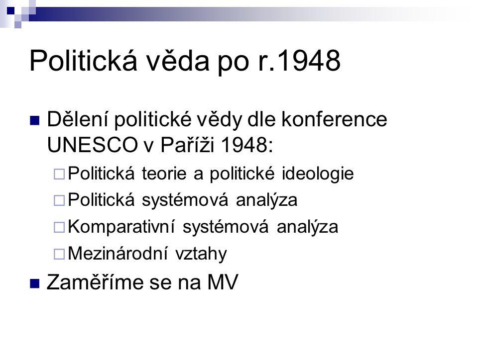 Politická věda po r.1948 Dělení politické vědy dle konference UNESCO v Paříži 1948:  Politická teorie a politické ideologie  Politická systémová analýza  Komparativní systémová analýza  Mezinárodní vztahy Zaměříme se na MV