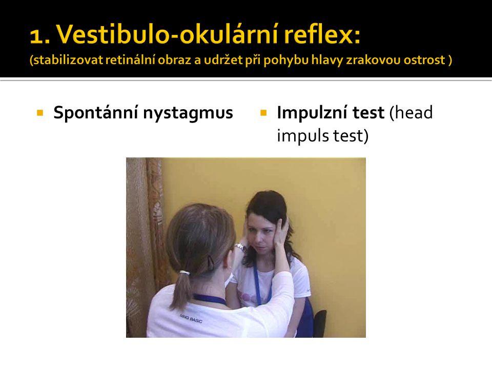 1. Vestibulo-okulární reflex: (stabilizovat retinální obraz a udržet při pohybu hlavy zrakovou ostrost )  Spontánní nystagmus  Impulzní test (head i