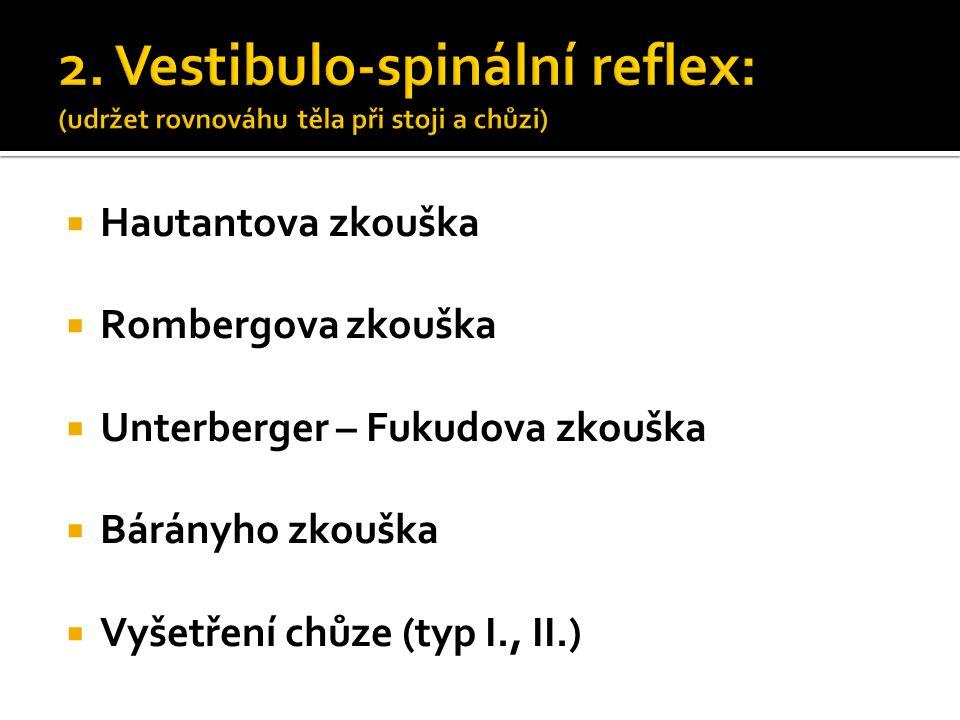 2. Vestibulo-spinální reflex: (udržet rovnováhu těla při stoji a chůzi)  Hautantova zkouška  Rombergova zkouška  Unterberger – Fukudova zkouška  B