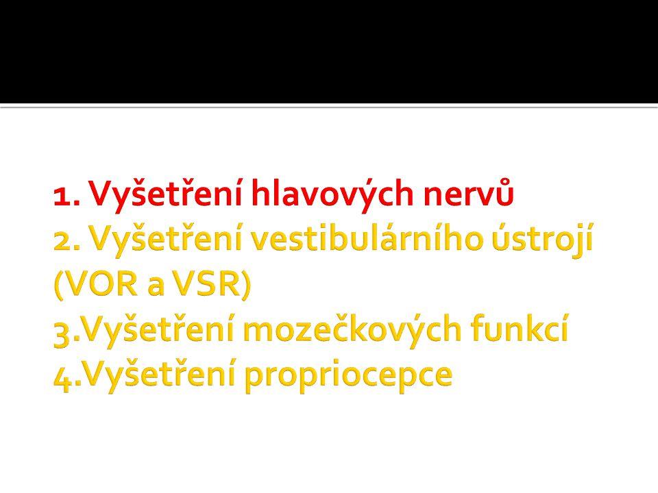 N.olfactorius (n. I)  Vyšetření čichu nedráždivou látkou známého identifikovatelného pachu (např.