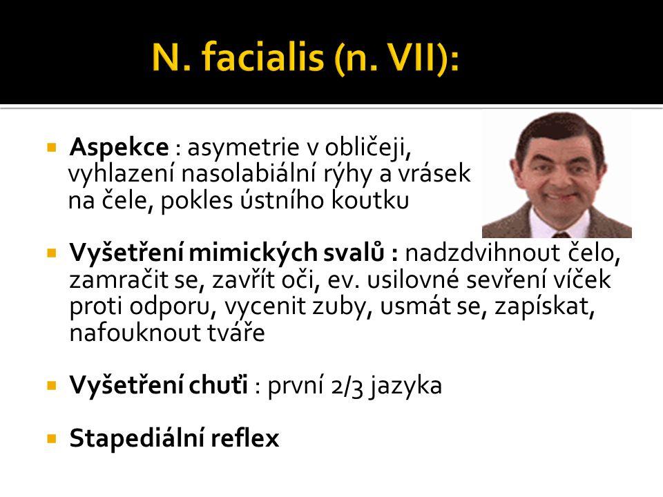 N. vestibulocochlearis (n. VIII):  ORL  orientační vyšetření sluchu
