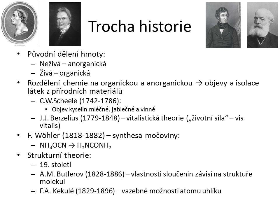 Trocha historie Původní dělení hmoty: – Neživá – anorganická – Živá – organická Rozdělení chemie na organickou a anorganickou → objevy a isolace látek