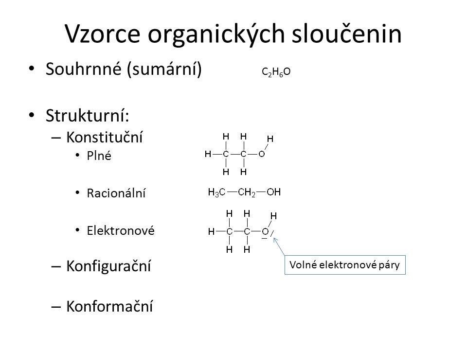 Modely organických molekul Kuličkové: – Tvořeny kuličkami (atomy) a tyčinkami (vazby) Trubičkové: – Skládají se z fragmentů spojených trubičkami.