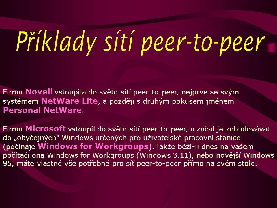 Firma Novell vstoupila do světa sítí peer-to-peer, nejprve se svým systémem NetWare Lite, a později s druhým pokusem jménem Personal NetWare.