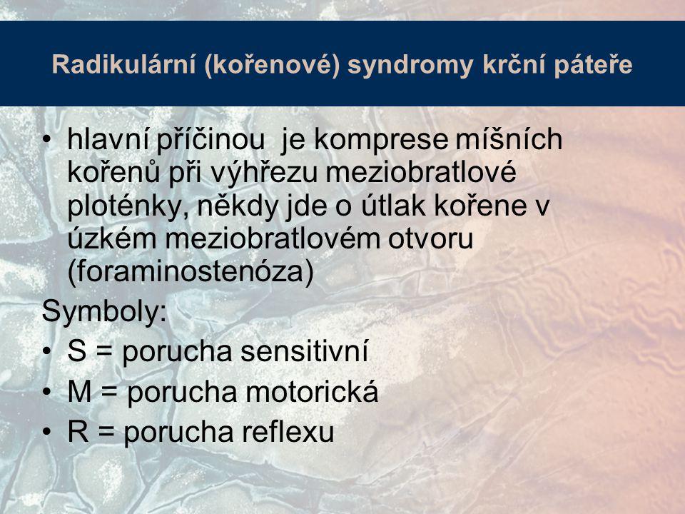 Radikulární (kořenové) syndromy krční páteře hlavní příčinou je komprese míšních kořenů při výhřezu meziobratlové ploténky, někdy jde o útlak kořene v úzkém meziobratlovém otvoru (foraminostenóza) Symboly: S = porucha sensitivní M = porucha motorická R = porucha reflexu