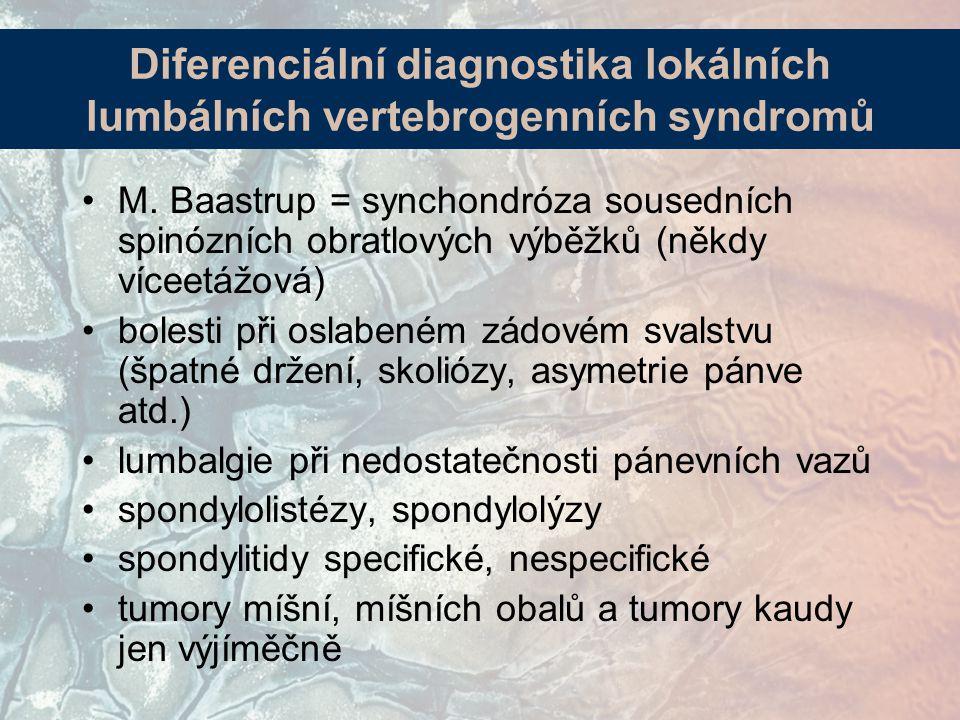 M. Baastrup = synchondróza sousedních spinózních obratlových výběžků (někdy víceetážová) bolesti při oslabeném zádovém svalstvu (špatné držení, skolió