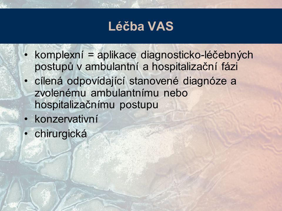 komplexní = aplikace diagnosticko-léčebných postupů v ambulantní a hospitalizační fázi cílená odpovídající stanovené diagnóze a zvolenému ambulantnímu nebo hospitalizačnímu postupu konzervativní chirurgická Léčba VAS