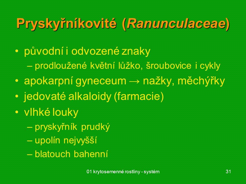 01 krytosemenné rostliny - systém31 Pryskyřníkovité (Ranunculaceae) původní i odvozené znaky –prodloužené květní lůžko, šroubovice i cykly apokarpní gyneceum → nažky, měchýřky jedovaté alkaloidy (farmacie) vlhké louky –pryskyřník prudký –upolín nejvyšší –blatouch bahenní