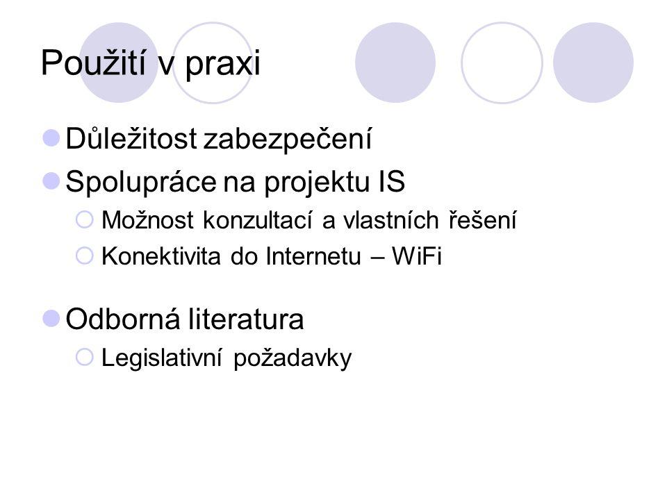 Použití v praxi Důležitost zabezpečení Spolupráce na projektu IS  Možnost konzultací a vlastních řešení  Konektivita do Internetu – WiFi Odborná literatura  Legislativní požadavky